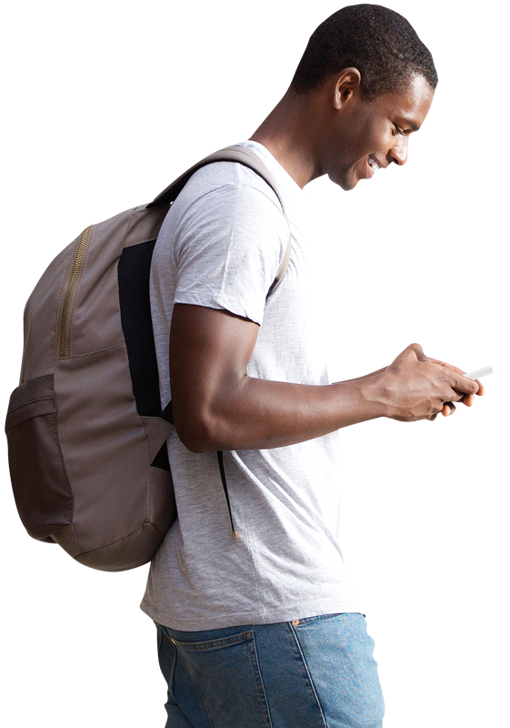 Student with backpack doing banking while walking