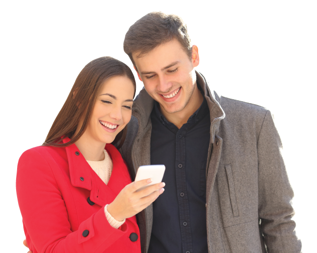 young couple looking at smartphone screen together