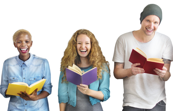 College students with books all smiling