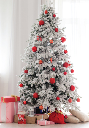 Christmas Tree with red ornaments and wrapped presents underneath