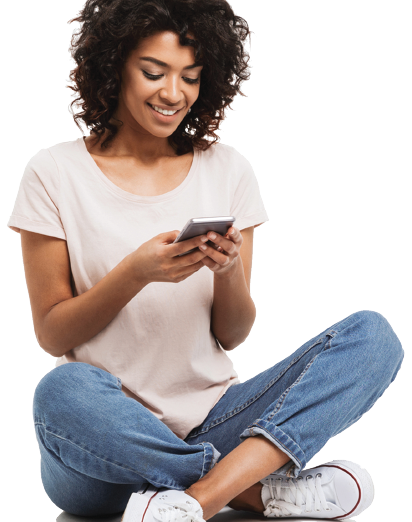 Young female adult using smartphone for mobile banking