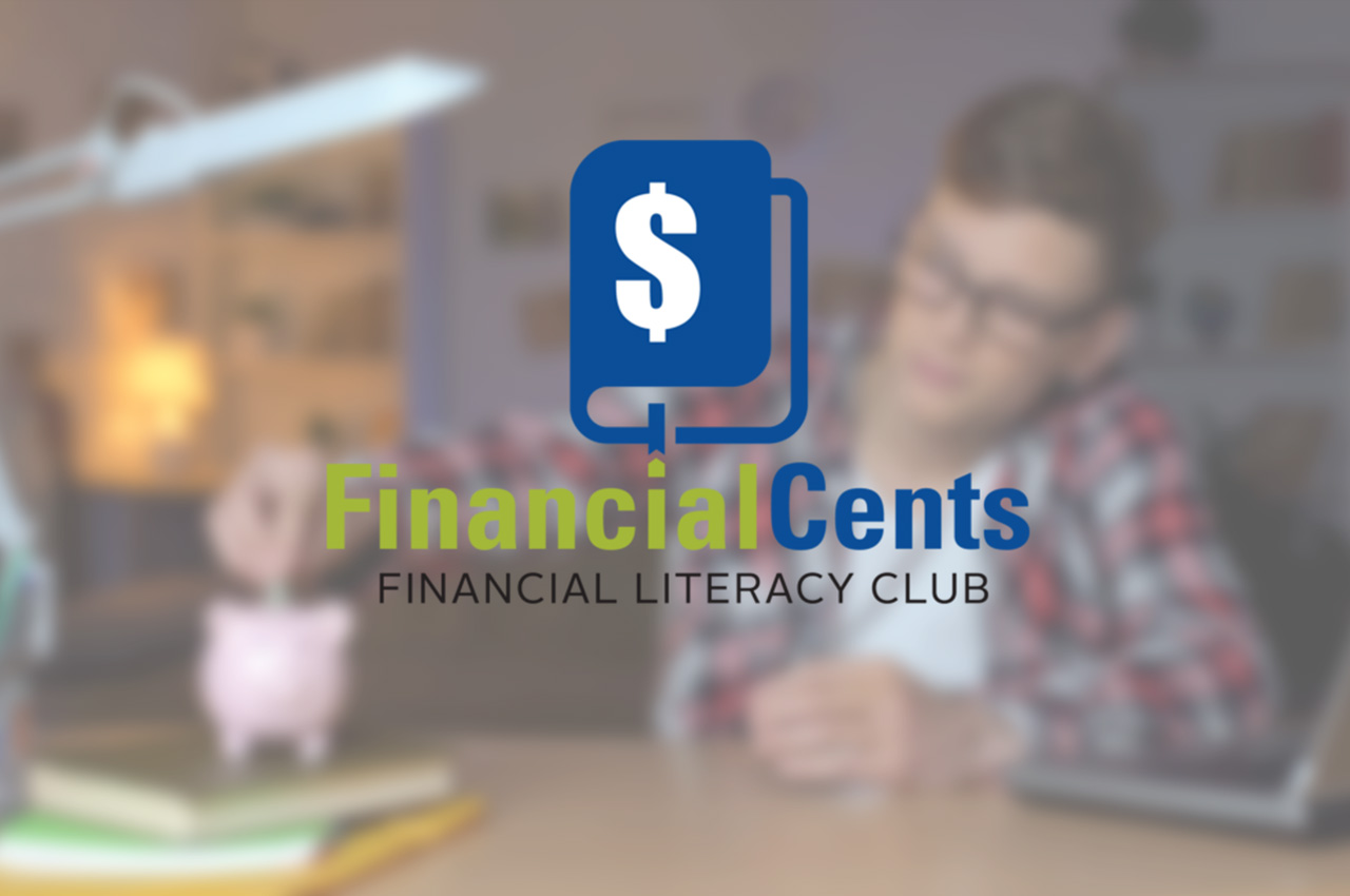 Financial Cents Financial Literacy Club Logo over decorative background