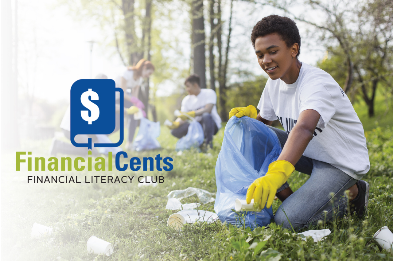 college student volunteering with group to pickup trash, financial cents financial literacy club logo