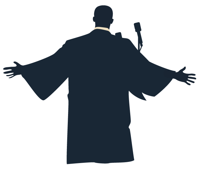 illustration of Dr Matin Luther King Jr giving a speech